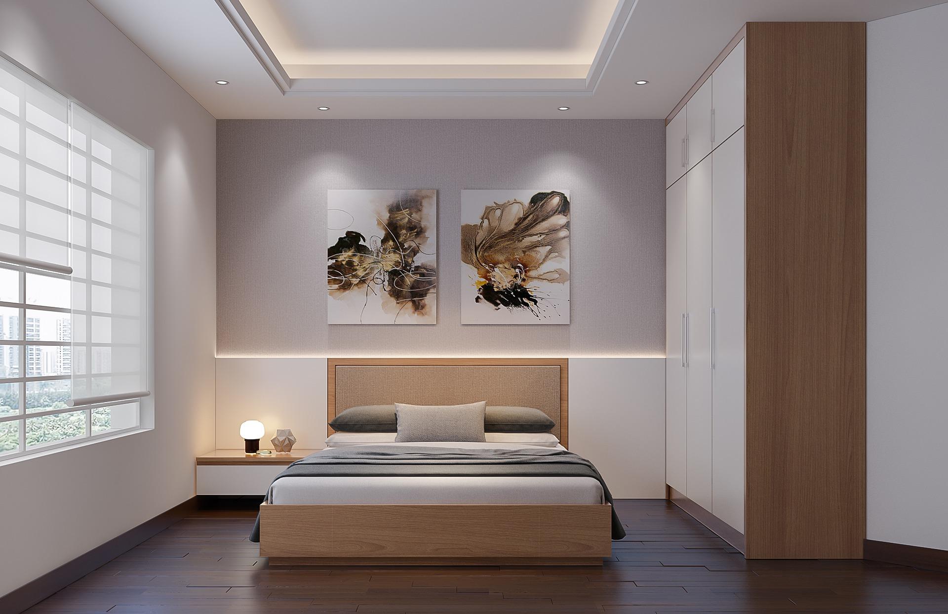Armario de dormitorio con puerta batiente a medida