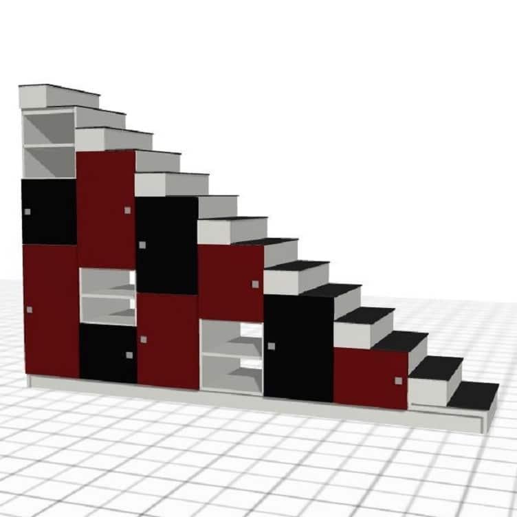 escalera roja negra hecha a medida