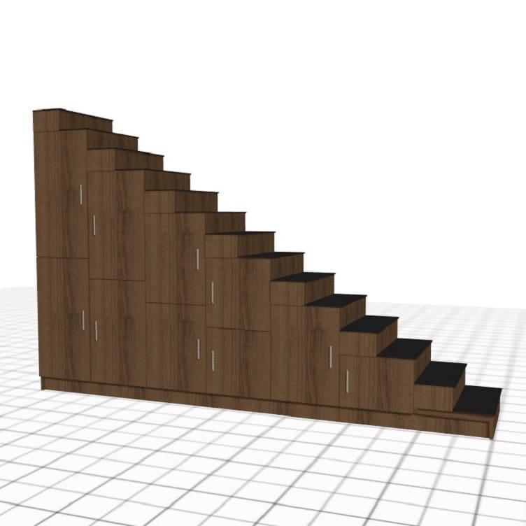 escalera de madera oscura puertas a medida