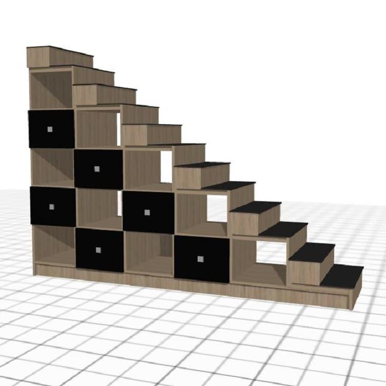 escalera de madera negra personalizada