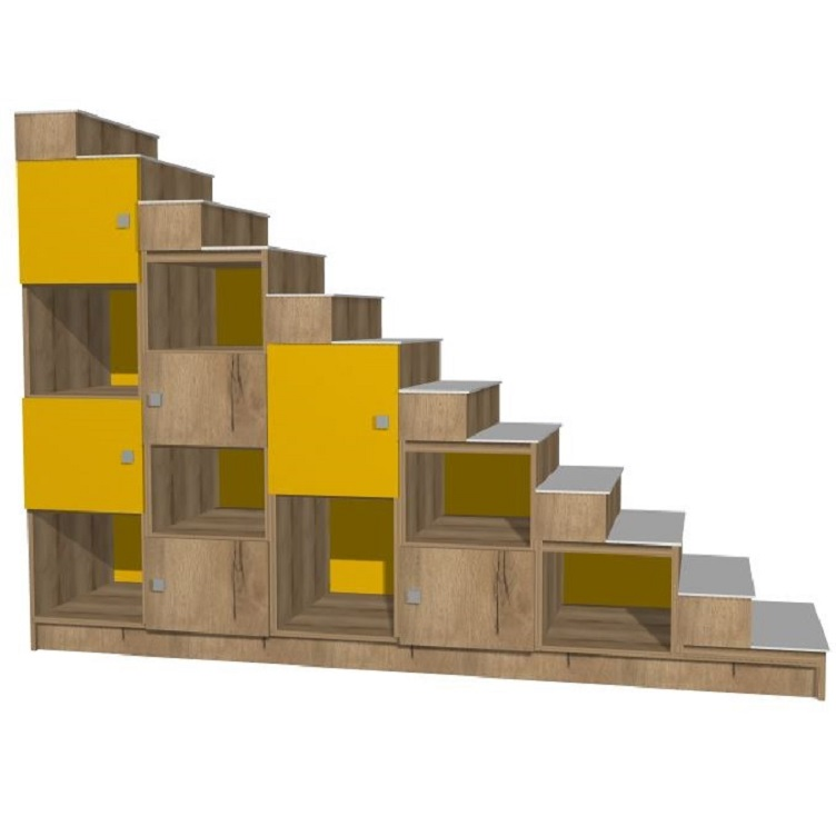 escalera blanca amarilla hecha a medida