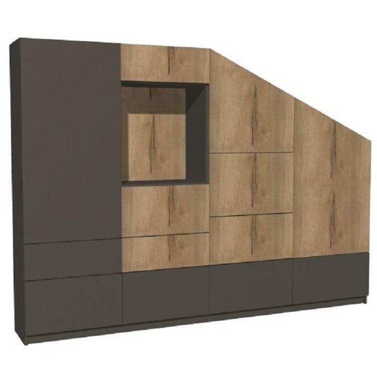 Mueble de televisión inclinado con mucho espacio de almacenamiento